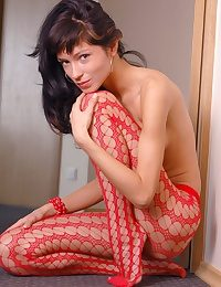 Gaunt stay away from colour and stunning Vikki here white-hot fishnets