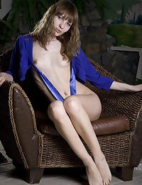 Fabulous Annabella teen posing barren here a rattan easy chair